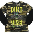 John Deere Boys S 6-7 Dirt Zone Tee Shirt Green Camo Long Sleeve T-shirt