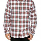 DC Shoes Mens S Winthrop Plaid Button-down Woven Shirt Long Sleeve Red White Small
