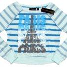 Miss Understood Girls S Blue Stripe Oversize Crop Sweater Paris Youth Pullover