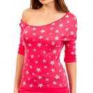 Mitto Juniors L Coral Pink Scoopneck Off-Shoulder Slubbed Shirt in Star Print