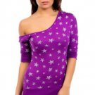 Mitto Juniors S Purple Scoopneck Off-Shoulder Slubbed Shirt in Star Print