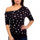 Mitto Juniors M Black Scoopneck Off-Shoulder Slubbed Shirt in Star Print
