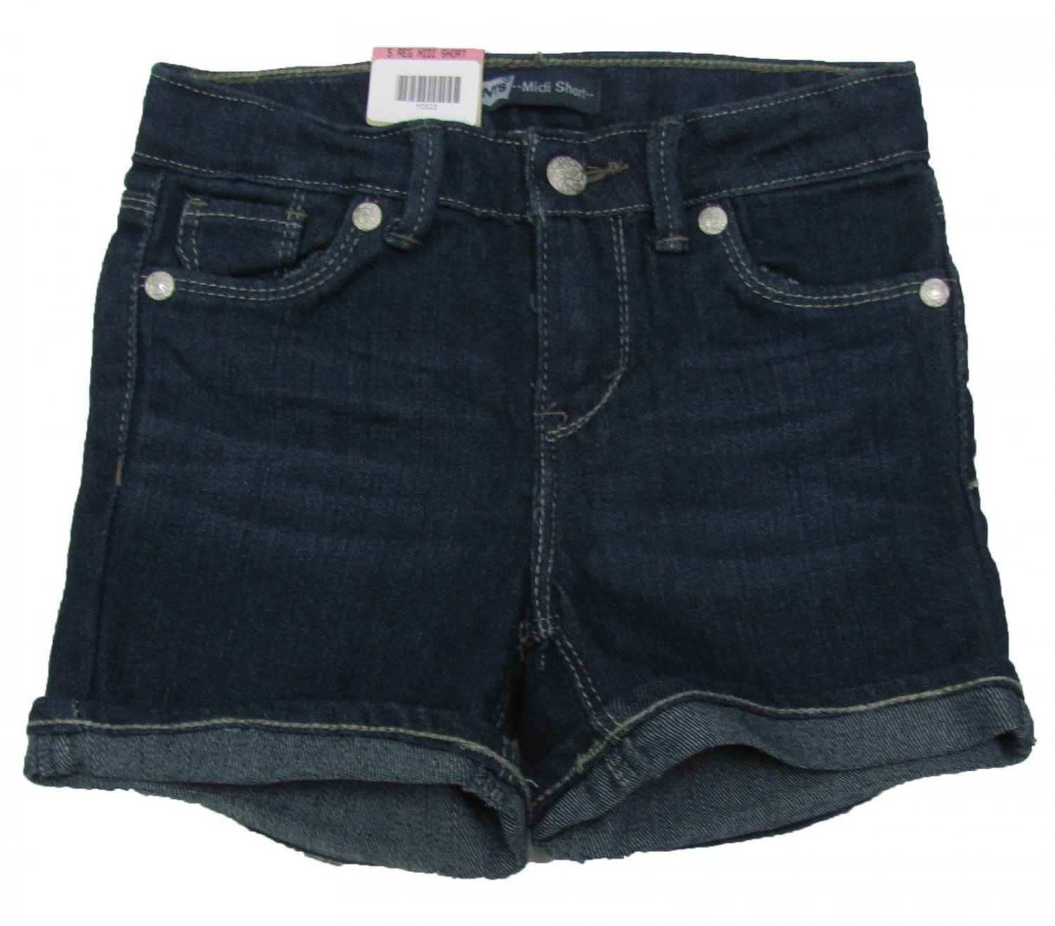 Levis Girls size 6X Dark Blue Midi Short Mid-length Shorts with Adjustable Waistband New Levi's