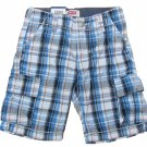 Levis Boys size 7 Blue Plaid Cargo Shorts with Adjustable Waist New Levi's Kids