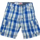 Levis Boys size 5 Blue Plaid Cargo Shorts with Adjustable Waist New Levi's Kids
