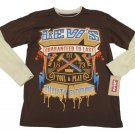 Levis Youth L Boys 16-18 Brown Long Sleeve T-shirt Mock Layer 2-Fer Levi's New