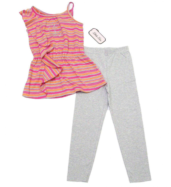 Girls size 5 Little Lass Pink Striped Peplum Shirt and Carters Gray Leggings Set