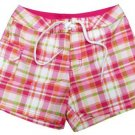Kanu Girls size 6X Pink Plaid Surf Shorts Boardshorts Swim Kids New