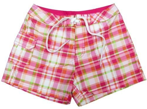 Kanu Girls size 5 Pink Plaid Surf Shorts Boardshorts Swim Kids New
