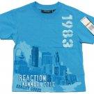 Kenneth Cole Reaction Boys 4T Blue V-neck Tee Shirt Logo T-shirt Short Sleeve