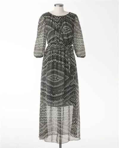 Coldwater Creek Size 14 Moonshadow Maxi Dress Gray and Black Long Womens