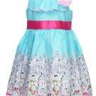 Jessica Ann Girls size 6 Light Blue and Pink City Print Sleeveless Dress Toddler New