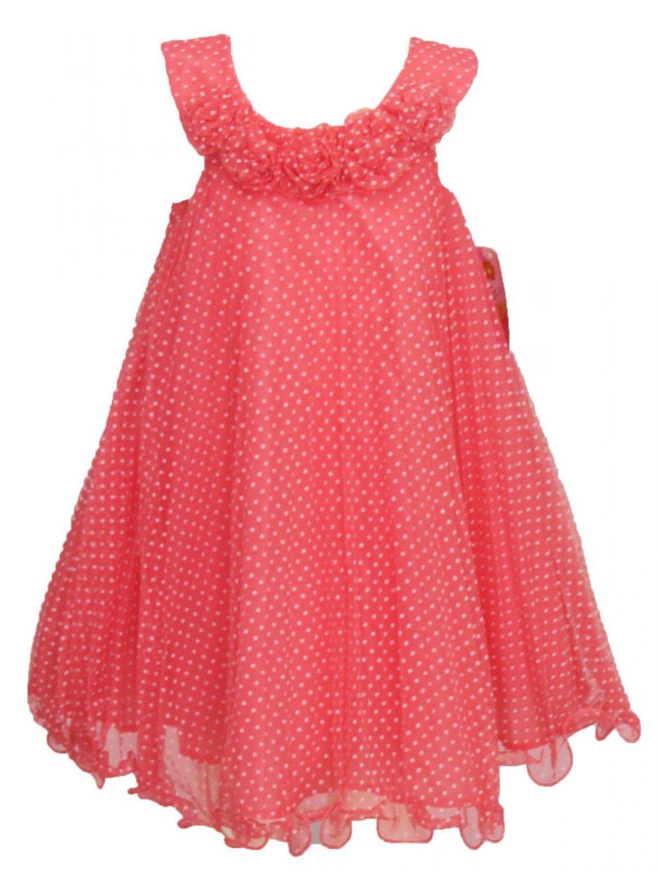 Jessica Ann Girls Size 4 Coral Pink Mesh Polka Dot Sleeveless Tunic Dress