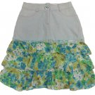 Joanna Juniors M Light Blue Denim Skirt with Tiered Floral Bottom NWT