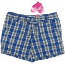 Just a Girl size 6 Blue Plaid Cotton Shorts with Matching Belt New