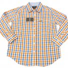 IZOD Boys size L 8-10 Orange and Blue Plaid Button-down Dress Shirt Long Sleeve New
