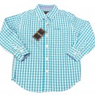 IZOD Boys size S 4-5 Surf Blue Plaid Button-down Dress Shirt Long Sleeve New