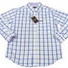 IZOD Boys size S 4-5 Mint Blue Plaid Button-down Dress Shirt Long Sleeve New