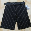 Hurley Boys size 16 Black Stripe Shorts with Belt Youth Pinstripe Shorts New