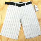 Hurley Boys size 16 White Stripe Shorts with Belt Youth Pinstripe Shorts New