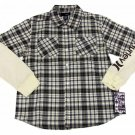 Hurley Boys L Brown Plaid Button-down Shirt with Long Thermal Sleeves Large New