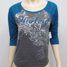 Hurley Juniors XS Gray Raglan Tee Shirt with 3/4 Length Blue Sleeves New