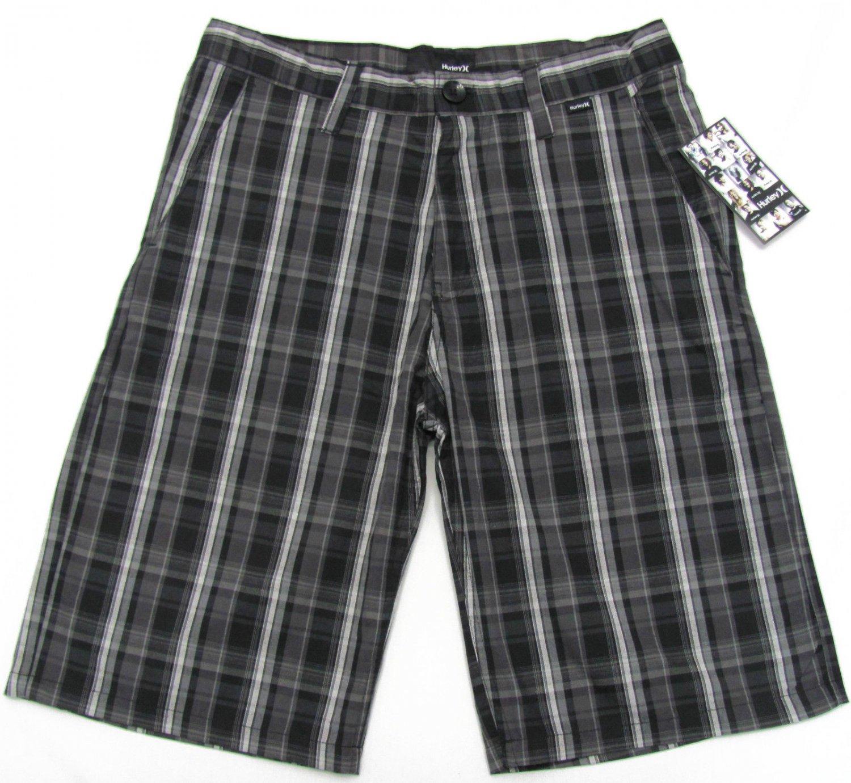 Hurley Mens Size 28 Milestone Plaid Shorts Black and Gray New