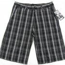 Hurley Mens Size 28 Milestone Plaid Shorts Black and Gray New