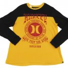 Hurley Mens L Black and Yellow Contrast Tee with Red Logo Large Long Sleeve