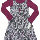 Hurley Girls Size L Gray Feather Print Jumper Dress with Purple Shirt New