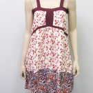 House of Harlow Juniors S Lace Inset Tank Dress Ivory and Maroon Red Floral