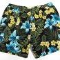 Carribean Joe Mens XXL Floral Swim Trunks Shorts Black Green Blue Hibiscus
