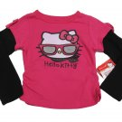 Hello Kitty Girls Size 2T Pink Long Sleeve T-shirt Sunglasses 2-Fer Tee Shirt Sanrio New