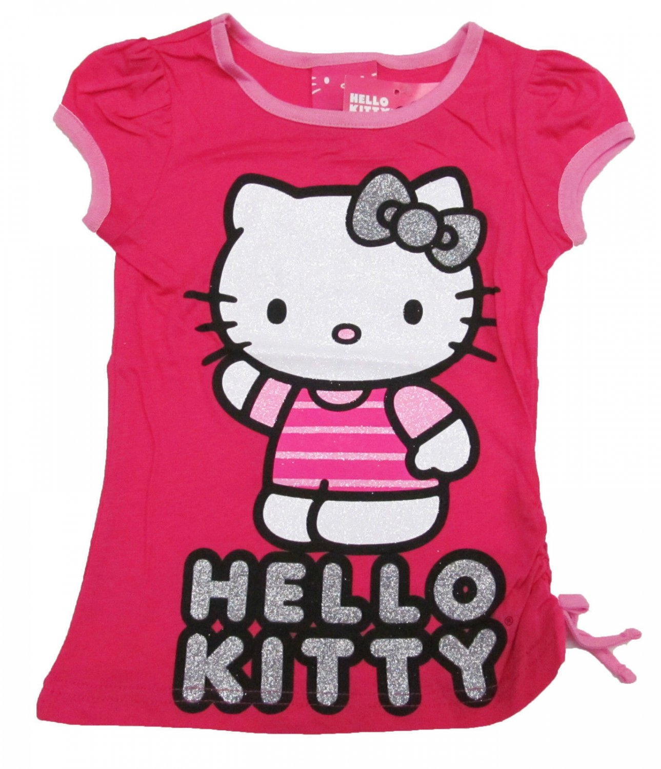Hello kitty girls size 4 pink glitter tee shirt with for Hello kitty t shirt design
