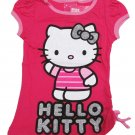Hello Kitty Girls Size 4 Pink Glitter Tee Shirt with Shirred Side Seam New