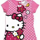 Hello Kitty Girls size 6X Pink Polka Dot Tee Shirt Glitter T-shirt New