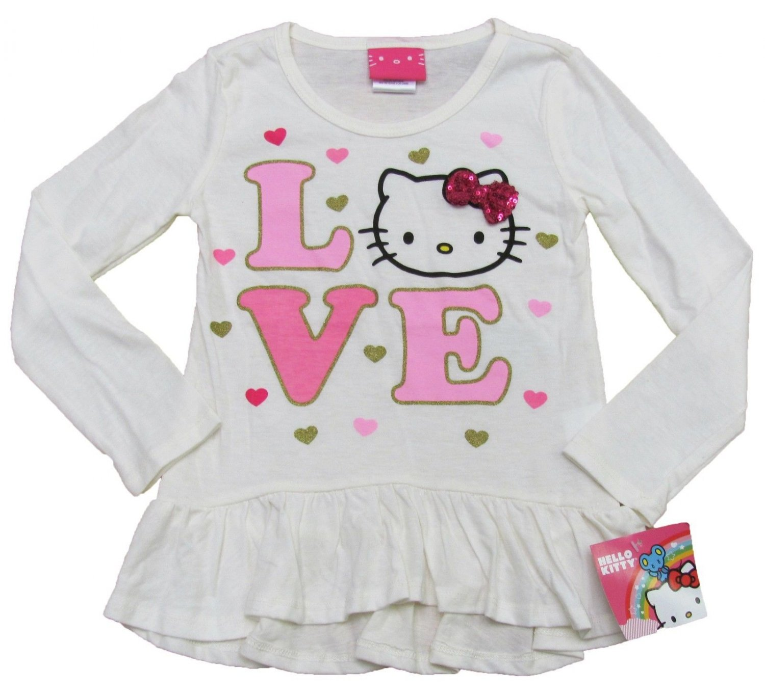 Hello Kitty Girls size 4 Long Sleeve Tee Shirt Ivory and Pink Love T-shirt New