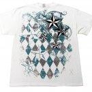 Hybrid Mens S Nautical Star T-shirt Filigree and Argyle Graphic Tee Shirt White