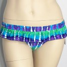 Hobie size L Blue Green Purple Tie-Dye Ruffle Bikini Swim Bottoms Flirt Skirt