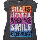 Girlyfied Girls size M 7-8 Life is Better When You Smile Everyday Tee Shirt Inspirational