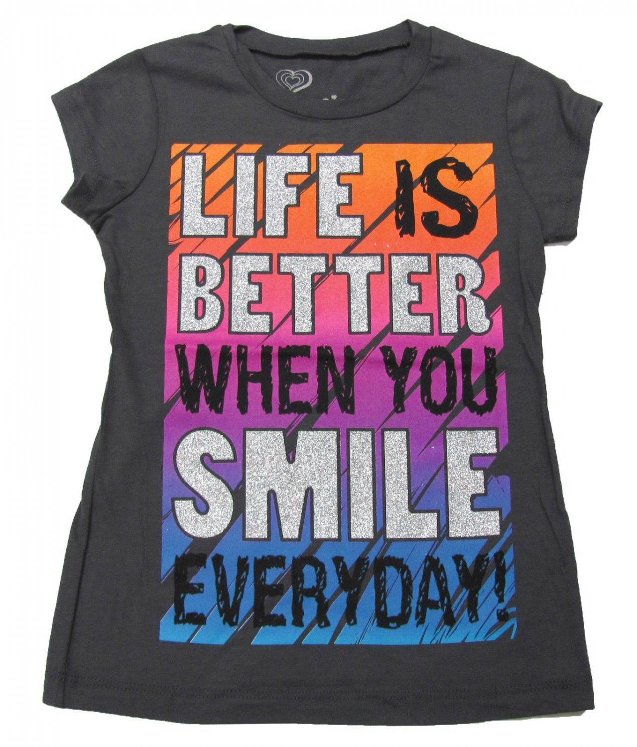 Girlyfied Girls size XS 4-5 Life is Better When You Smile Everyday Tee Shirt Inspirational