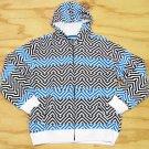 Ground Level Boys L Black Blue and White Chevron Print Hoodie Sweatshirt Large