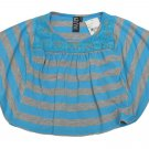 Glam by Zunie Girls XS 4-5 Blue and Gray Stripe Bat Sleeve Shirt