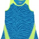 FILA Girls size 4-5 Blue Zebra Polyester Racerback Tank Top Shirt Kids New