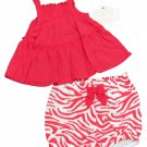 First Moments Baby Girls 3 Months Pink Smocked Sundress and Zebra Diaper Cover Set