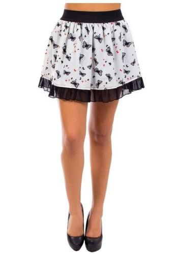 Fashion Exit Juniors L Ruffle Butterfly Skirt Off-white and Black Large New