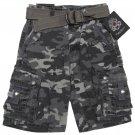 English Laundry Boys size 10 Gray Camo Cargo Shorts with Belt New