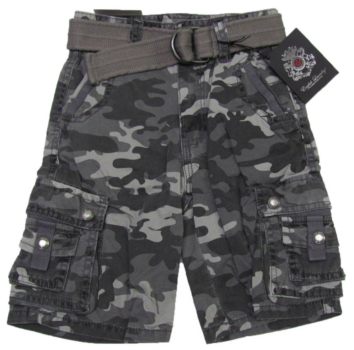 English Laundry Boys size 5 Gray Camo Cargo Shorts with Belt New
