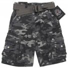 English Laundry Boys size 5 Gray Camo Cargo Shorts with Belt New