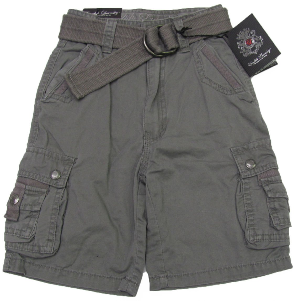 English Laundry Boys size 12 Gray Cargo Shorts with Belt New